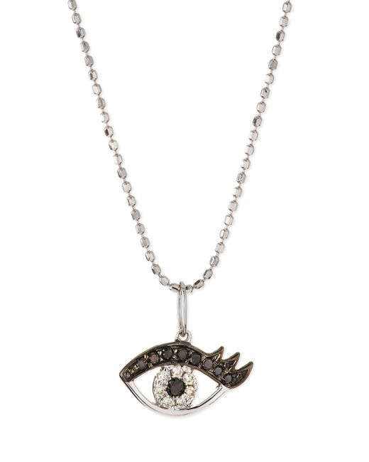 Sydney Evan | 14K White Gold Eyelash Evil Eye Pendant Necklace | Lyst