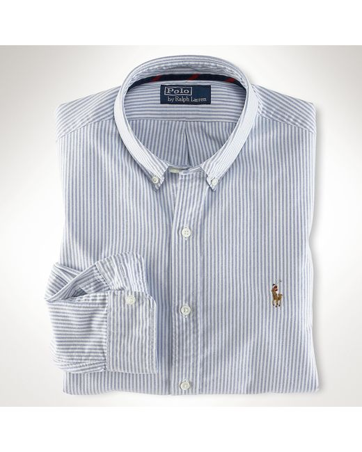 Polo Ralph Lauren | Blue Slim-fit Striped Oxford Shirt for Men | Lyst