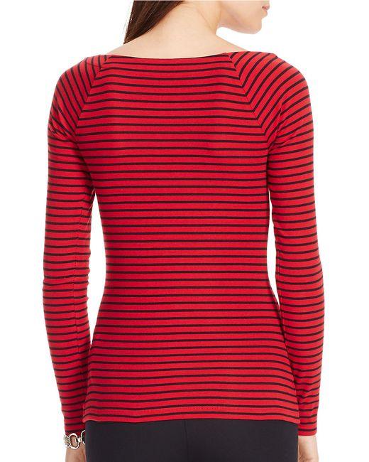 Lauren by Ralph Lauren | Red Petite Striped Ballet-neck Shirt | Lyst