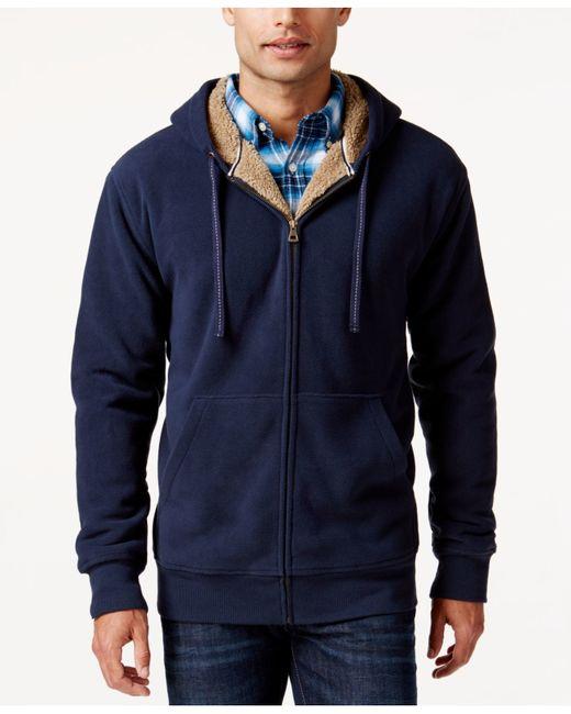 Weatherproof blue vintage hooded sherpa fleece sweater for Weatherproof vintage men s lightweight flannel shirt
