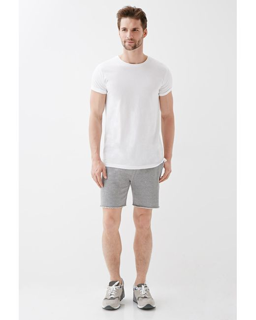 Forever 21 | Gray Varsity-striped Cutoff Sweatshorts for Men | Lyst