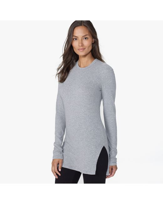 James Perse | Gray Brushed Jersey Side Split Tee | Lyst