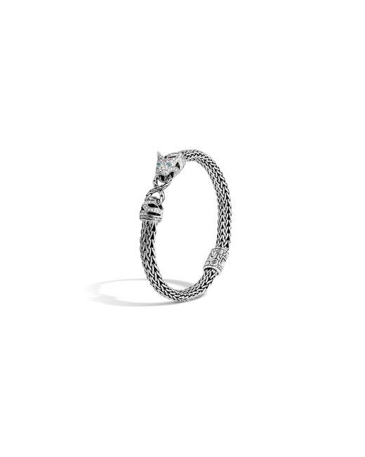 John Hardy   Classic Chain Sterling Silver Diamond Pavé Small Macan Bracelet With Swiss Blue Topaz Eyes   Lyst