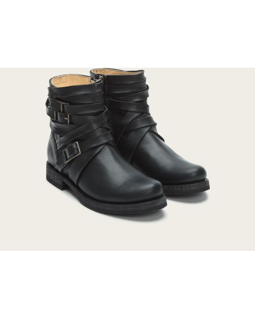 Frye | Black Veronica Strappy Leather Boots | Lyst