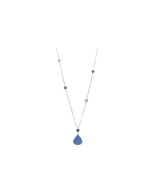 Lucky Brand | Metallic Urban Beat Long Blue Pendant Necklace | Lyst