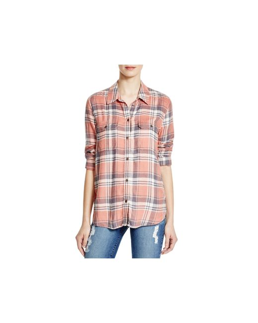 Paige denim trudy plaid flannel shirt in pink canyon rose for Flannel shirt and jeans