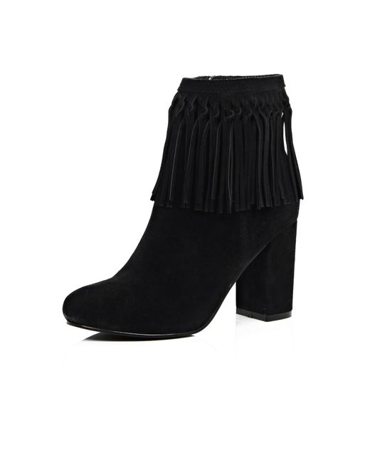 river island black suede tassel ankle boots in black lyst