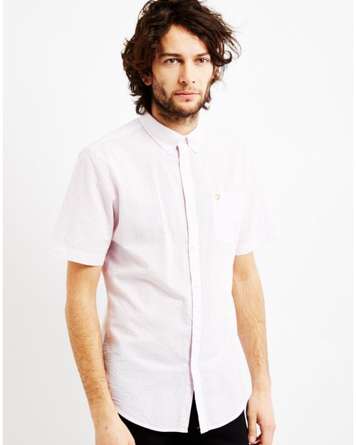 Farah sloane short sleeve button down light pink in pink for Pastel pink button down shirt