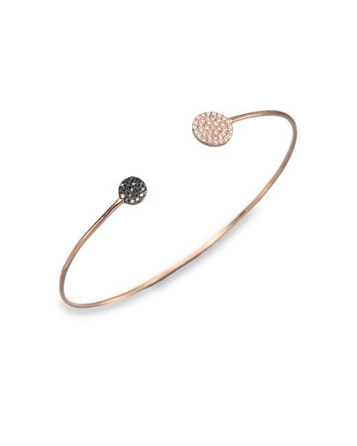 Diane Kordas | Pink White/Black Diamond & 18K Rose Gold Disc Cuff Bracelet | Lyst