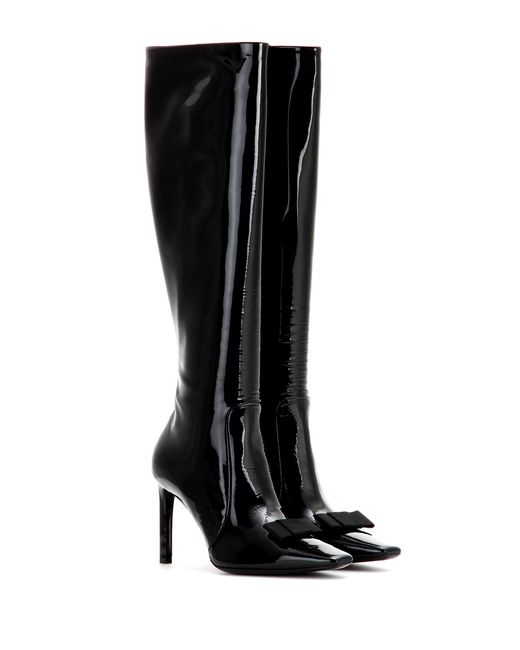 balenciaga patent leather boots in black lyst