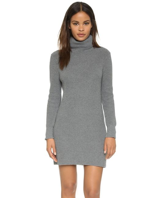 525 America | Gray Cotton Shaker Sweater Dress | Lyst