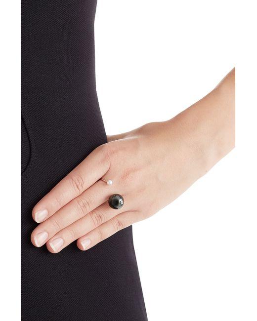 Delfina Delettrez | Metallic 18kt Gold Ring With White Diamond, Tahiti Pearl And Pearl - Black | Lyst