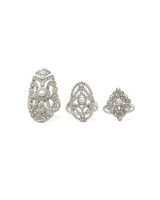 Forever 21 | Metallic Rhinestone Filigree Ring Set | Lyst