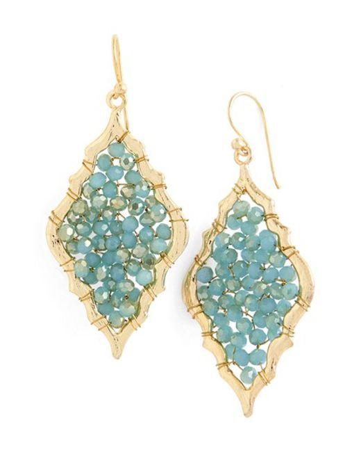 Panacea | Green Scalloped Crystal Drop Earring | Lyst