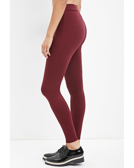 Forever 21 | Red Seam-stitched Leggings | Lyst