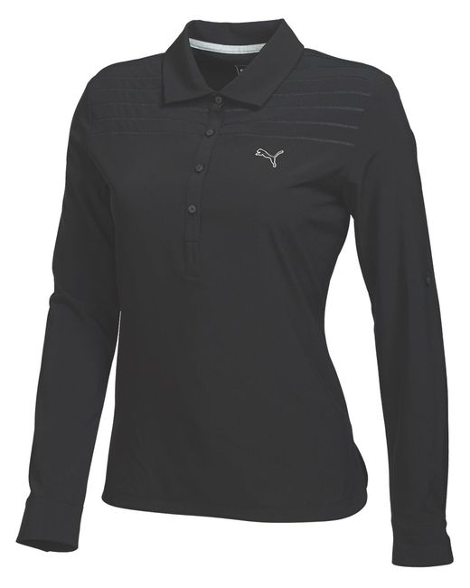 PUMA | Black Woven Long Sleeve Polo | Lyst