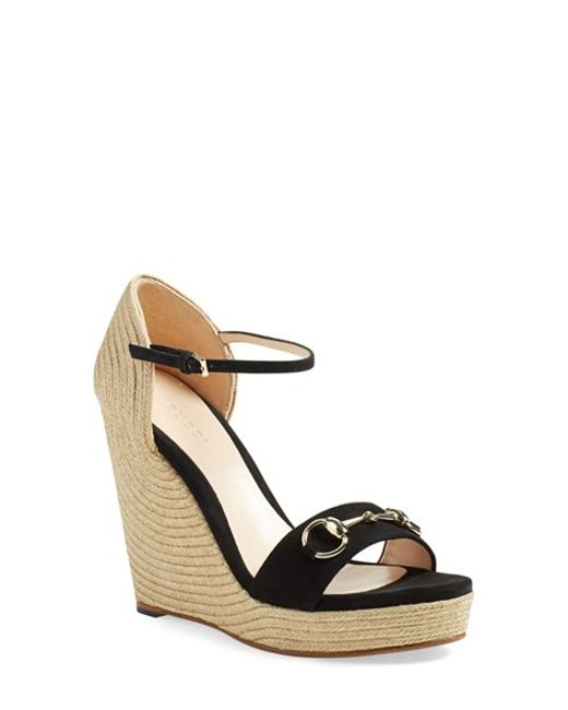 Gucci | Black Carolina Ankle-Strap Wedge Espadrilles | Lyst