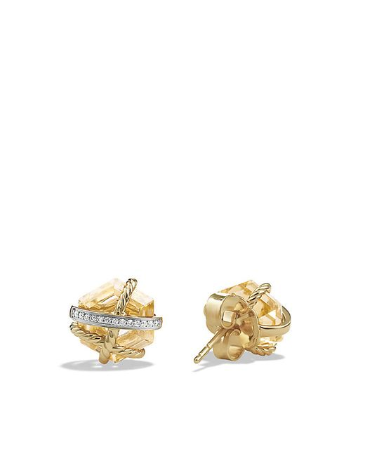 David Yurman | Metallic Cable Wrap Earrings With Champagne Citrine And Diamonds In 18k Gold, 10mm | Lyst