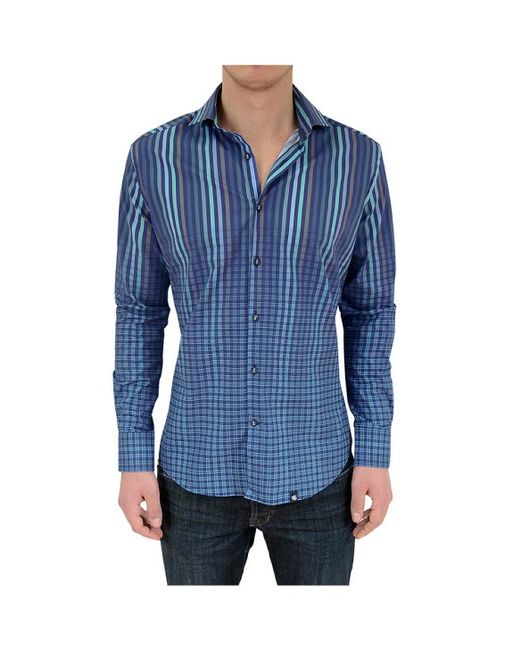 Stone Rose Navy Gradient Stripe To Check Button Down Shirt