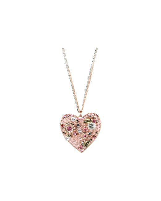 "Betsey Johnson   Pink Vintage Rose Vintage Heart 31"" Long Necklace   Lyst"