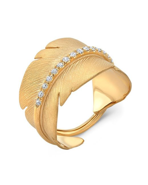 Anne Sisteron | Metallic 14kt Yellow Gold Diamond Feather Ring | Lyst