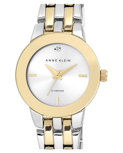 Anne Klein | Metallic Diamond Accent Bracelet Watch | Lyst