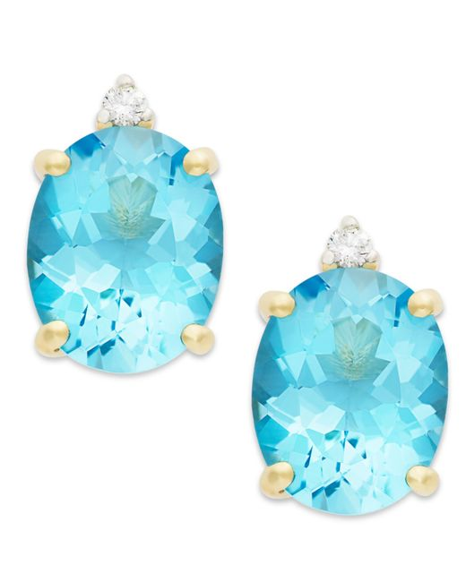 Macy's | Blue Topaz (6-1/2 Ct. T.w.) And Diamond Accent Stud Earrings In 14k Gold | Lyst