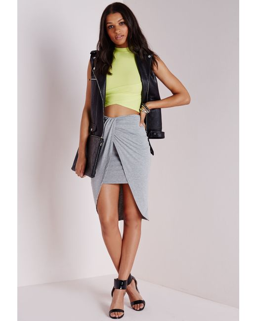 missguided wrap jersey midi skirt grey marl in multicolor