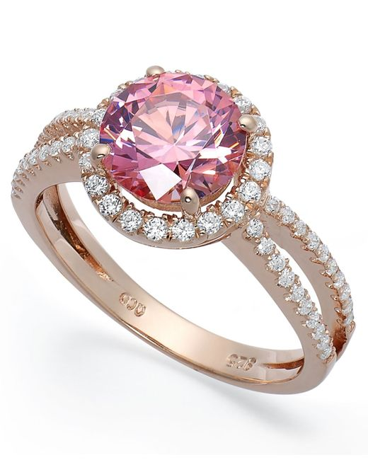 Macy's | Gray Pink Cubic Zirconia Ring In 14k Rose Gold Over Sterling Silver | Lyst