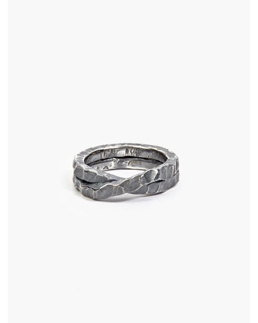 Denis Music | Metallic Oxidised Silver Moebius Cross Ring for Men | Lyst