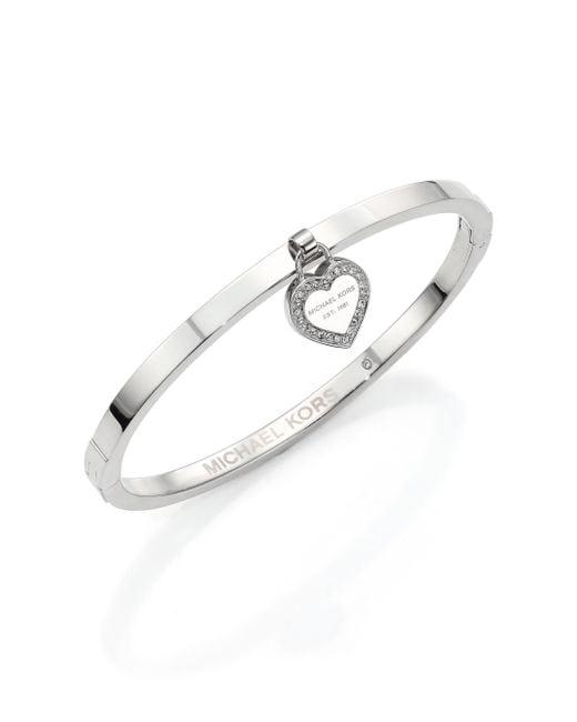 Michael Kors | Metallic Heritage Logo Heart Charm Bangle Bracelet/silvertone | Lyst