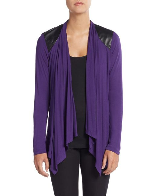 Saks Fifth Avenue Black Label | Purple No Close Vegan Leather Accented Cardigan | Lyst