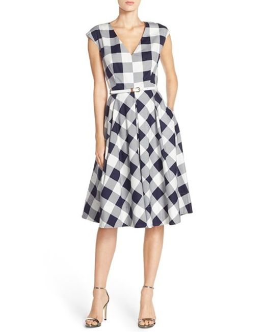 Eliza J Gingham Stretch Cotton Fit Amp Flare Dress In Blue