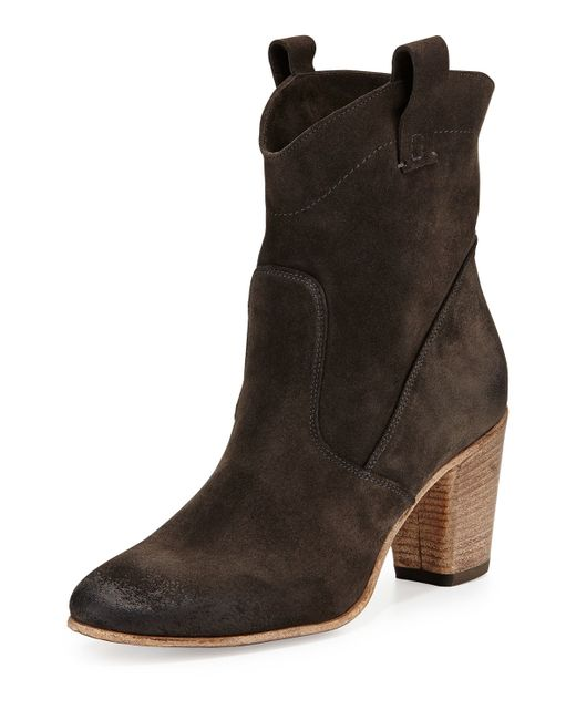 alberto fermani chiara slouchy suede ankle boot in gray