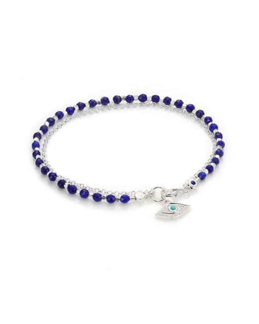Astley Clarke | Blue Biography White Sapphire, Lapis, Turquoise & Sterling Silver Evil Eye Beaded Friendship Bracelet | Lyst