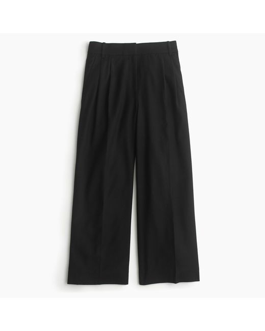 J.Crew | Black Petite Cropped Pant In Heathered Wool Flannel | Lyst