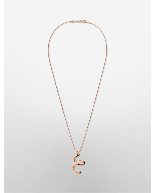 Calvin Klein | Pink Platinum Embrace Rose Gold Pendant Necklace | Lyst