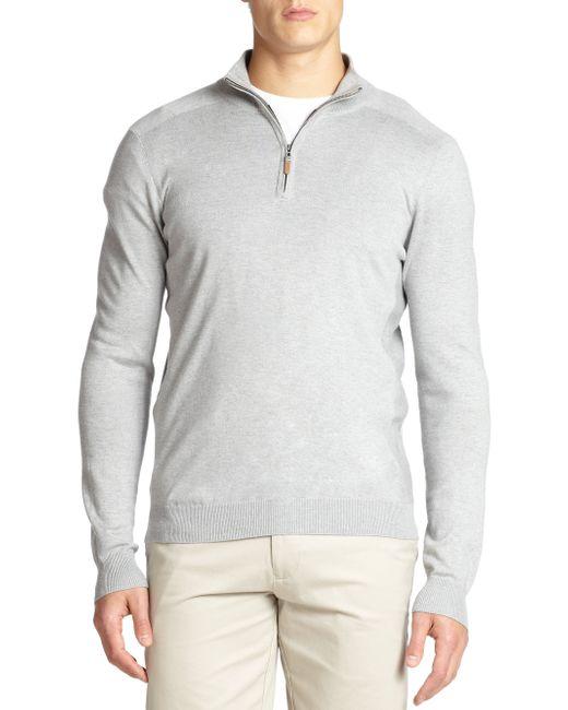 Saks Fifth Avenue | Gray Silk-blend Quarter-zip Sweater for Men | Lyst