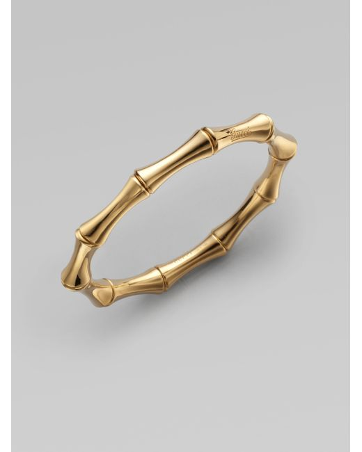 Gucci | Metallic Bamboo 18k Yellow Gold Small Bangle Bracelet | Lyst