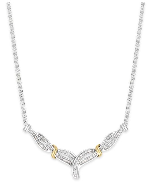 Macy's | Metallic Diamond Crossover V-necklace In Sterling Silver And 14k Gold (1/4 Ct. T.w.) | Lyst