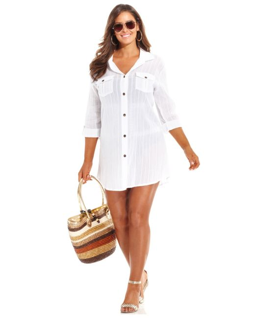 Dotti plus size button front shirtdress cover up in white for Mens dress shirt button covers
