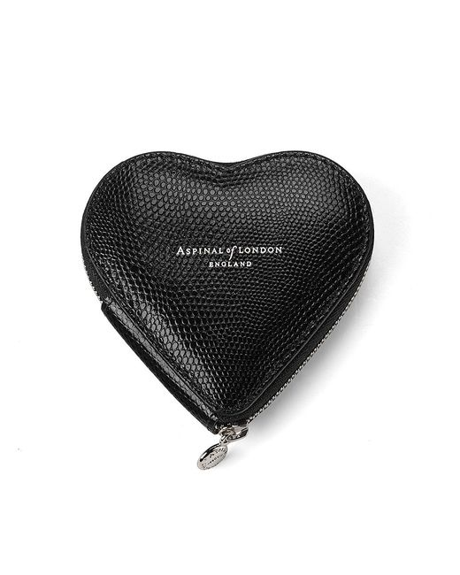 Aspinal | Heart Lizard-embossed Leather Coin Purse Black | Lyst