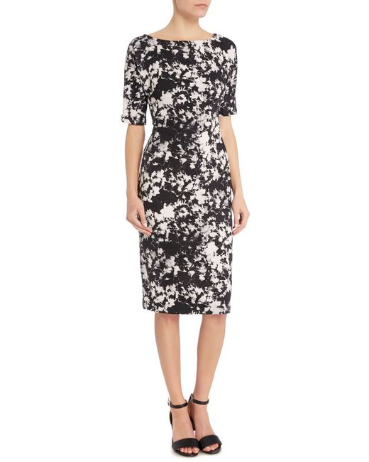 Vince Camuto Abstract Floral Print Scuba Dress In Gray