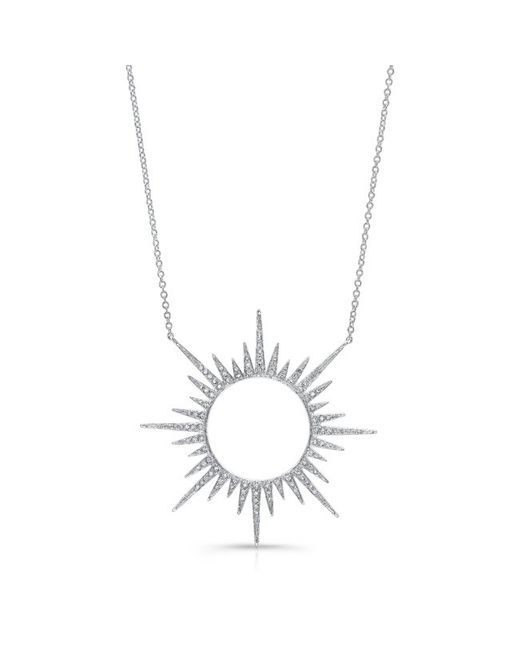 Anne Sisteron - 14kt White Gold Diamond Open Sunburst Necklace - Lyst