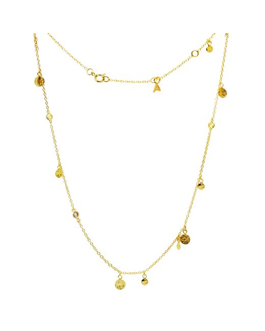 Auren | Metallic 18ct Gold Vermeil Small Hammered Discs And Diamond Drop Necklace | Lyst