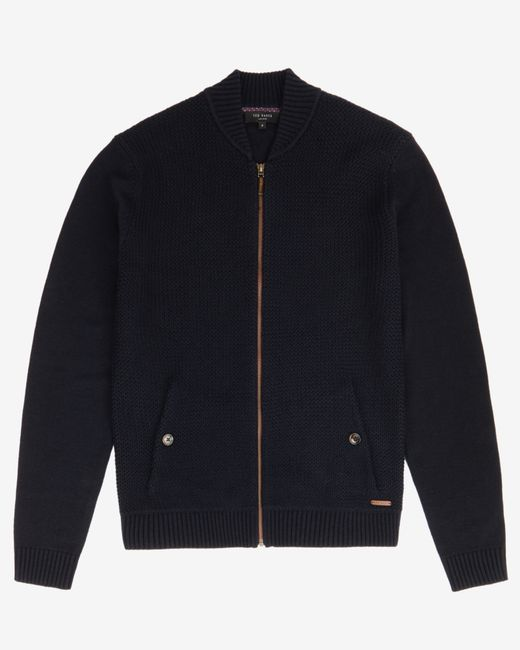 Ted Baker | Blue Knitted Bomber Jacket for Men | Lyst