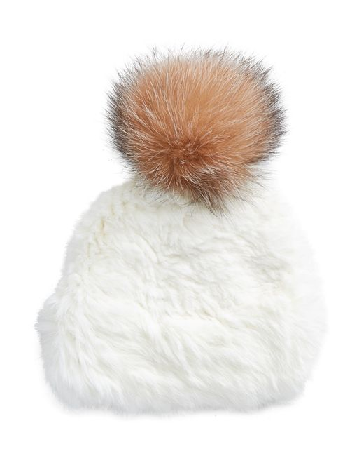 Surell | White Rabbit Fur Tuque With Fox Fur Pom-pom | Lyst
