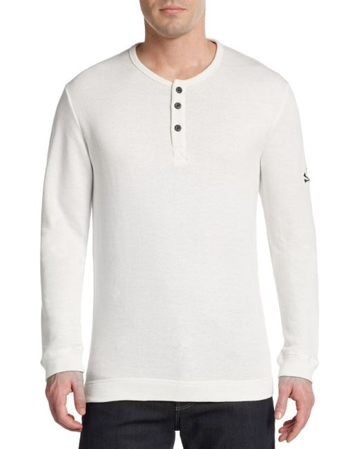 Psycho Bunny | White Cotton Jersey Lounge Henley for Men | Lyst