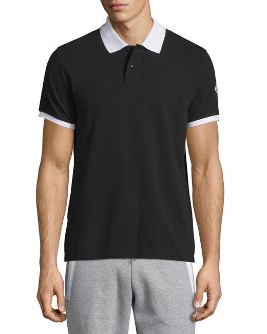 Moncler Contrast Collar Short Sleeve Polo Shirt In Black