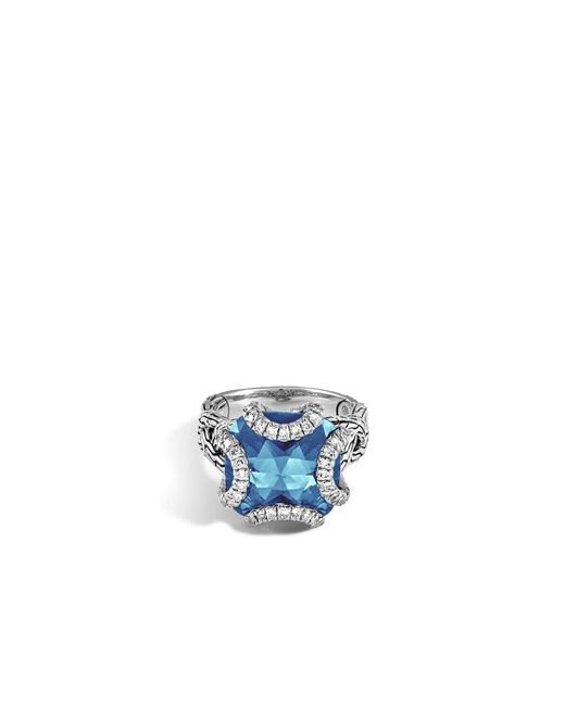 John Hardy | Classic Chain Ring With London Blue Topaz And Diamonds | Lyst